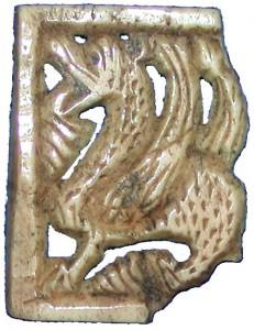 Fabeldyr laga av hvalrostann, truleg frå 1200-talet.