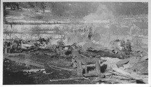 Brann, dampsag, 1937, Kaupanger Hovedgård